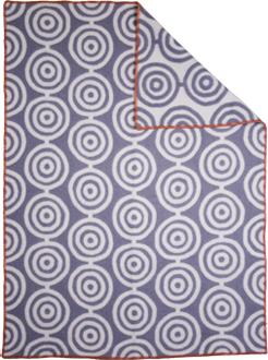 Circles grå/vit 130x180 Jaquardvävd ullpläd