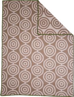 Circles brun/beige 130x180 Jaquardvävd ullpläd