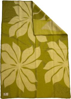 Lily grön 130x180 Jaquardvävd ullpläd