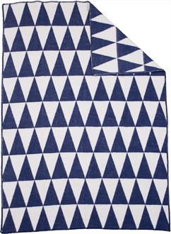 Triangle Blå/Vit 130x180 Jaquardvävd ullpläd