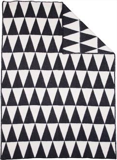 Triangle Svart/Vit 130x180 Jaquardvävd ullpläd