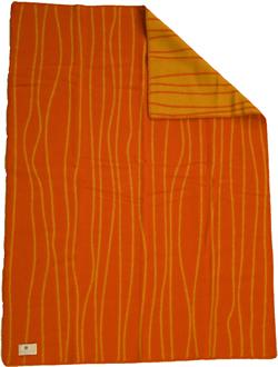Curvy Lines röd/orange 130x180 Jaquardvävd ullpläd