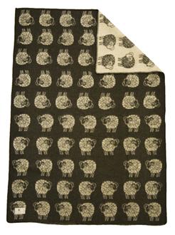 Sheep Grå/Vit 130x180 Jaquardvävd ullpläd