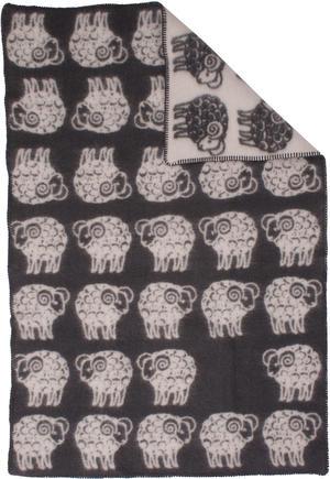 Sheep Grå/Vit 90x130 Jaquardvävd ullpläd