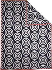 Circles vit/svart 130x180 Jaquardvävd ullpläd