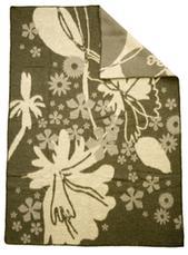 Flowers grå 130x180 jaquardvävd ullpläd