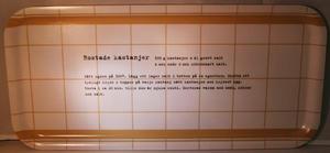 """Rostade kastanjer"" bricka 32x15 cm vit/beige"