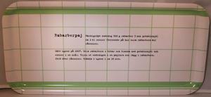 """""""Rabarberpaj"""" bricka 32x15 cm grön/vit"""