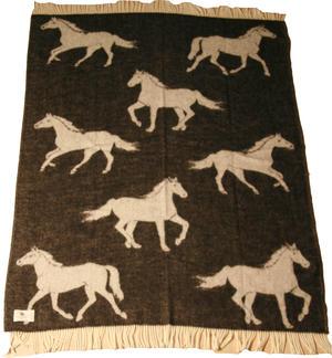 Horses 130x180 jaquardvävd ullpläd