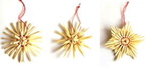 Halmstjärnor 3 olika, 6 cm, 9-pack
