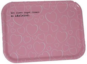 """""""Kärleken"""" bricka 20x27 cm rosa/vit"""