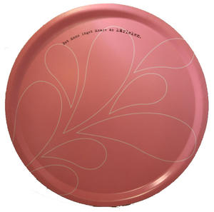 """""""Kärleken"""" bricka rund 38 cm rosa/vit"""