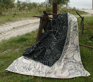 Doodle svart/vit 130x180 jaquardvävd ullpläd