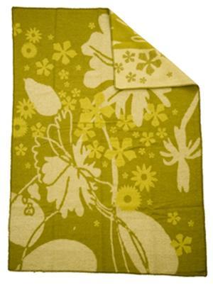 Flowers grön 130x180 jaquardvävd ullpläd