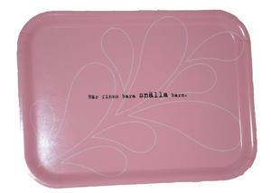 """""""Snälla barn"""" bricka 20x27 cm rosa/vit"""