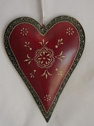 Hjärta rött metall