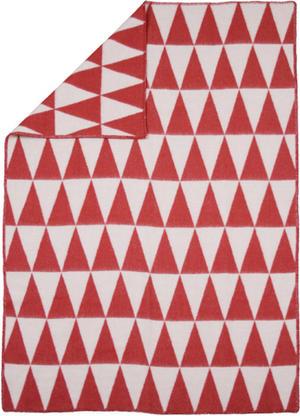 Triangle Röd/Vit 130x180 Jaquardvävd ullpläd