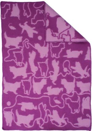 Kitten Rosa/Vit 90x130 Jaquardvävd ullpläd
