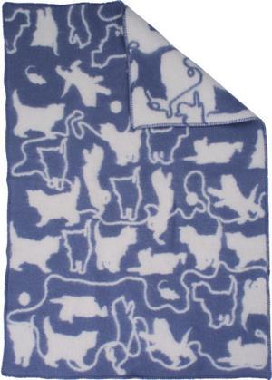 Kitten Grå/Vit 90x130 Jaquardvävd ullpläd