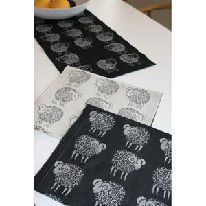 Sheep svart diskduk vitt får 30x25cm